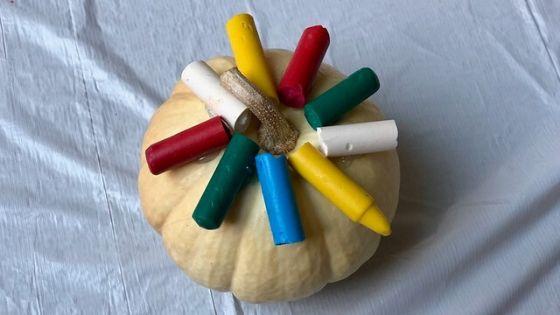 Melted Crayon Pumpkin Set Up