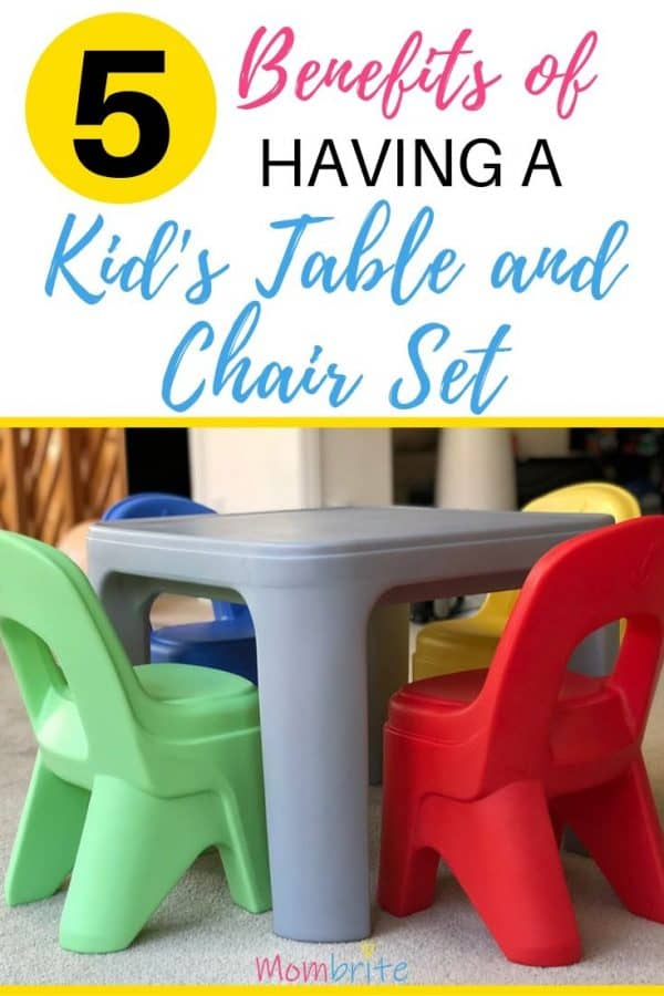 Thinking about buying a kid's table and chair set? Your independent toddlers will love a place where they can draw, eat, and just hang out. Plus it will teach them responsibilities like cleaning up after a meal. Here are 5 benefits to having a kid's table and chair set! #mombrite #toddlers
