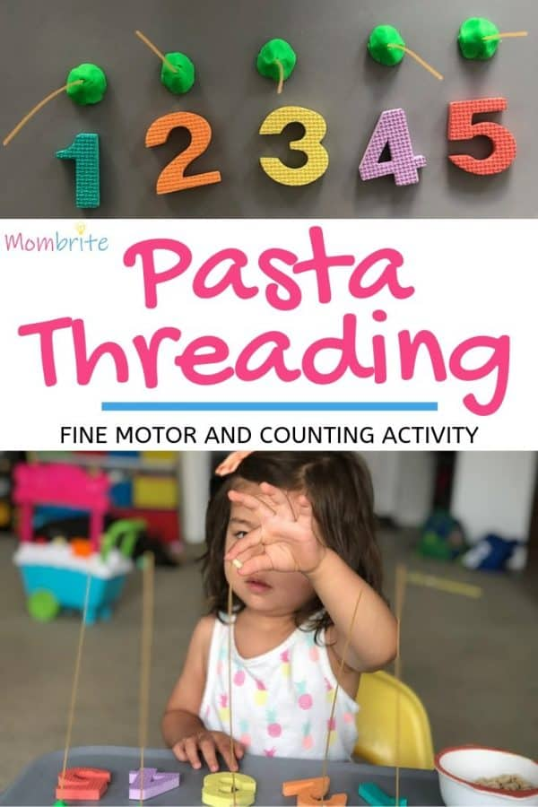 Want a simple and fun counting activity made out of only Cheerios, spaghetti strands, and playdough? Your toddlers will practice fine motor skills as well as learn how to count through this pasta threading activity!