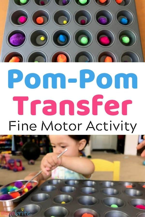 Pom pom transfer is a simple and fun fine motor activity for your toddler that uses things you already have at home! It will help your toddler learn how to hold the spoon for mealtime! #mombrite #finemotor