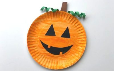 Easy Paper Plate Pumpkin Craft for Halloween