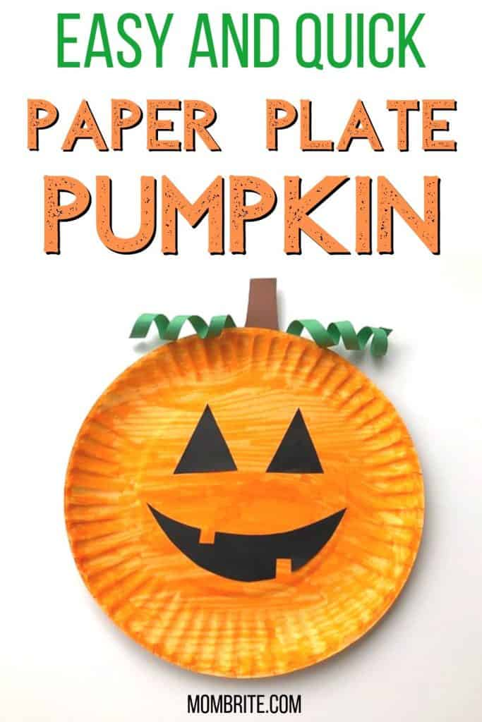 easy and quick paper plate pumpkin craft