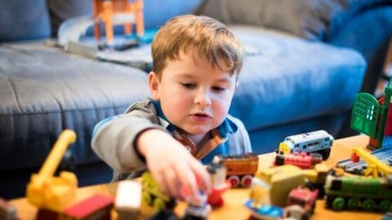 Boy Playing with Thomas & Friends