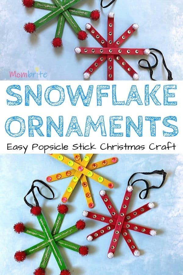 Popsicle Stick Snowflake Ornaments Pin 1