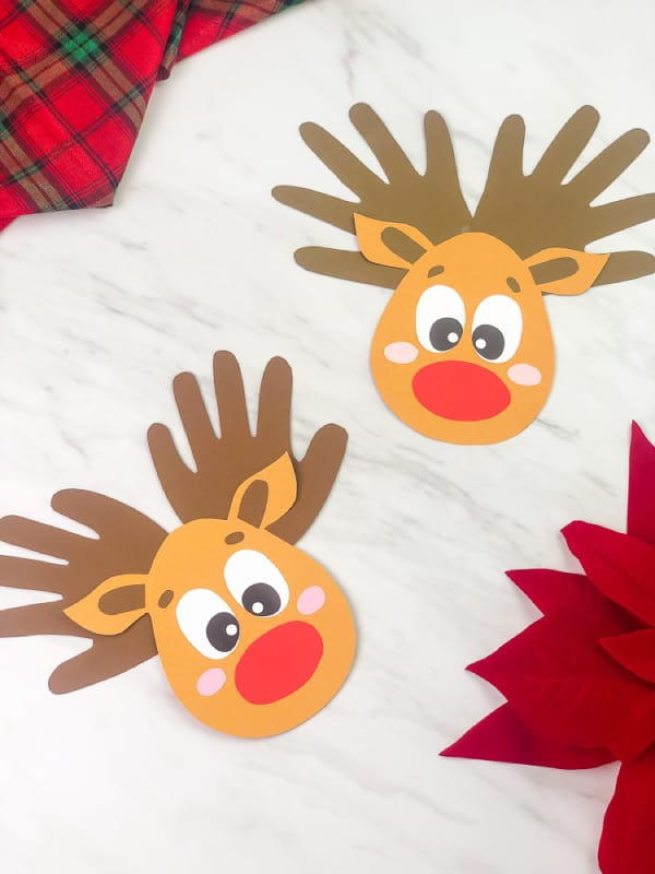 reindeer christmas craft with handprint
