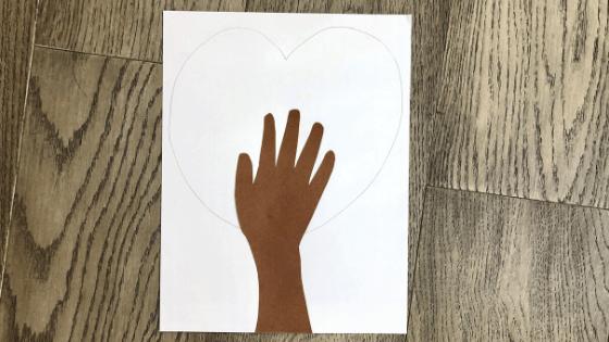 Draw a Heart Around the Handprint Cutout