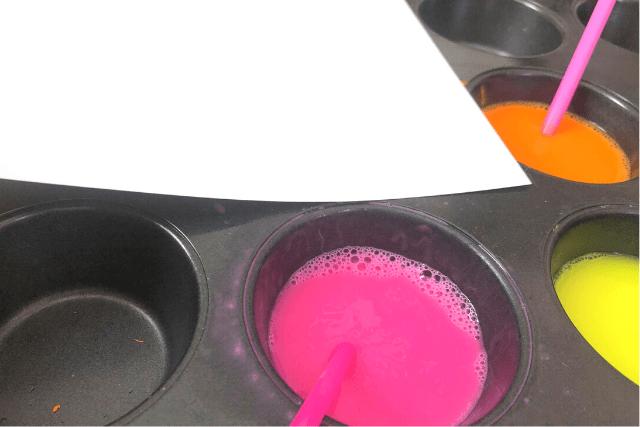 Bubble Painting Place Paper on Bubbles