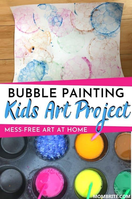 Bubble Painting Kids Art Project Pin