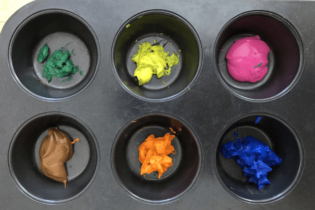Bubble Painting Paint in Muffin Pan