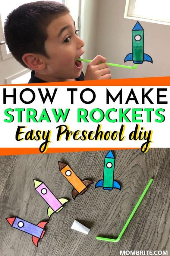 Straw Rockets Easy Preschool DIY