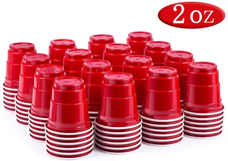 mini red plastic cups