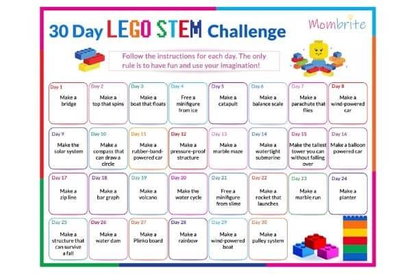 30 Day LEGO STEM Challenge Calendar