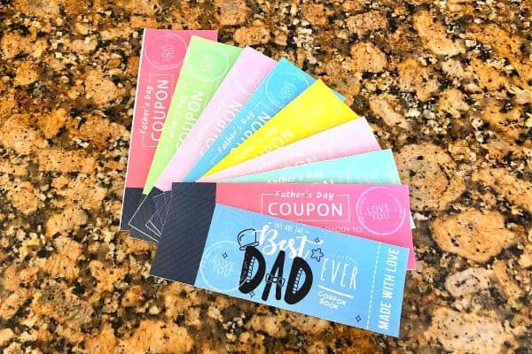 Father's Day Coupon Book Cut Outs