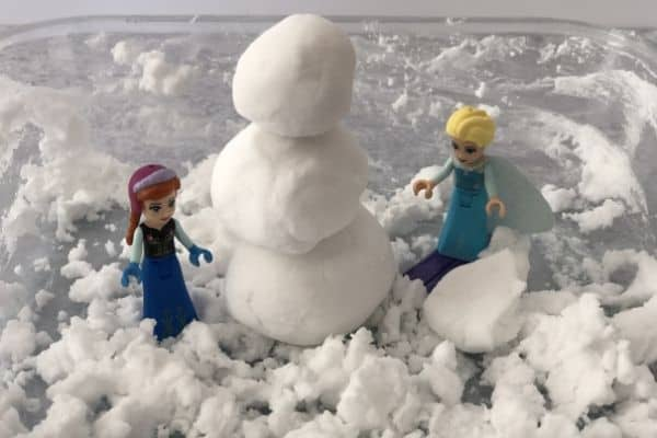 Baking Soda Snow Anna Elsa Build Fake Snowman