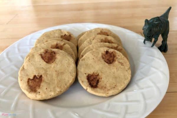 Dinosaur Footprint Cookies T-Rex Plate