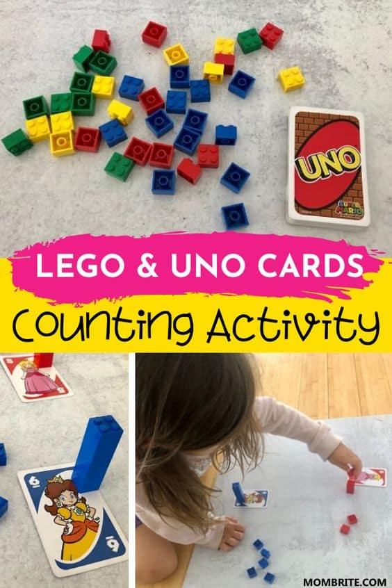 LEGO and UNO Cards Counting Activity pin