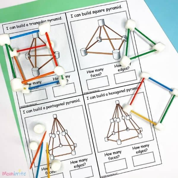 Marshmallow Geometric Shape Task Cards