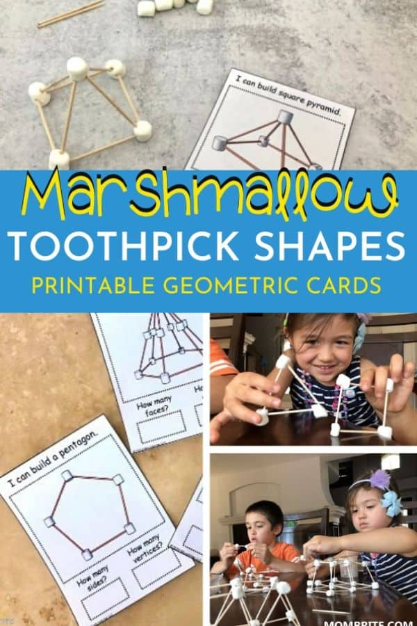 Marshmallow Toothpick Shapes Printable Cards