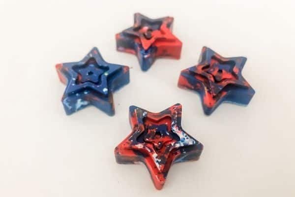 Melting Crayon Star Red White and Blue