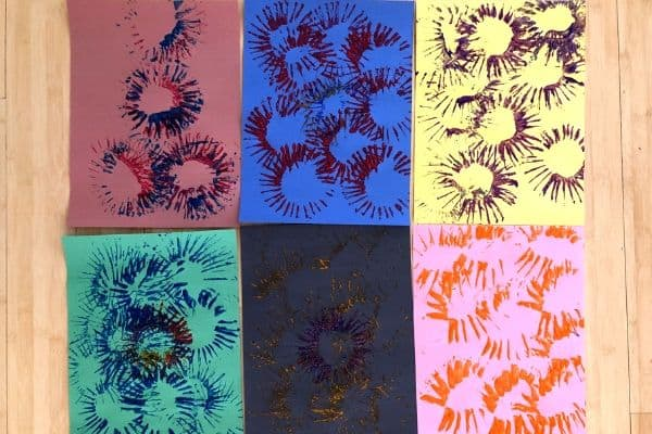 Toilet Paper Roll Fireworks Paintings