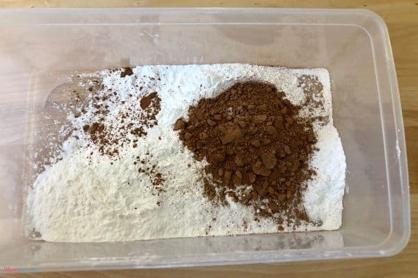 Chocolate Oobleck Cornstarch and Cocoa