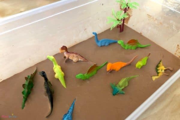 Chocolate Oobleck Dinosaur Dig