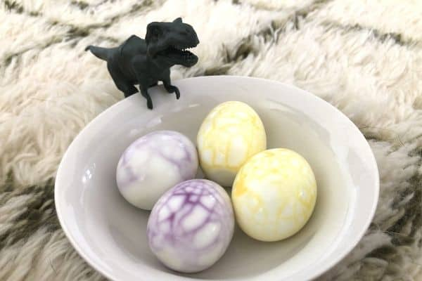 Colorful TREX Dinosaur Eggs in Bowl
