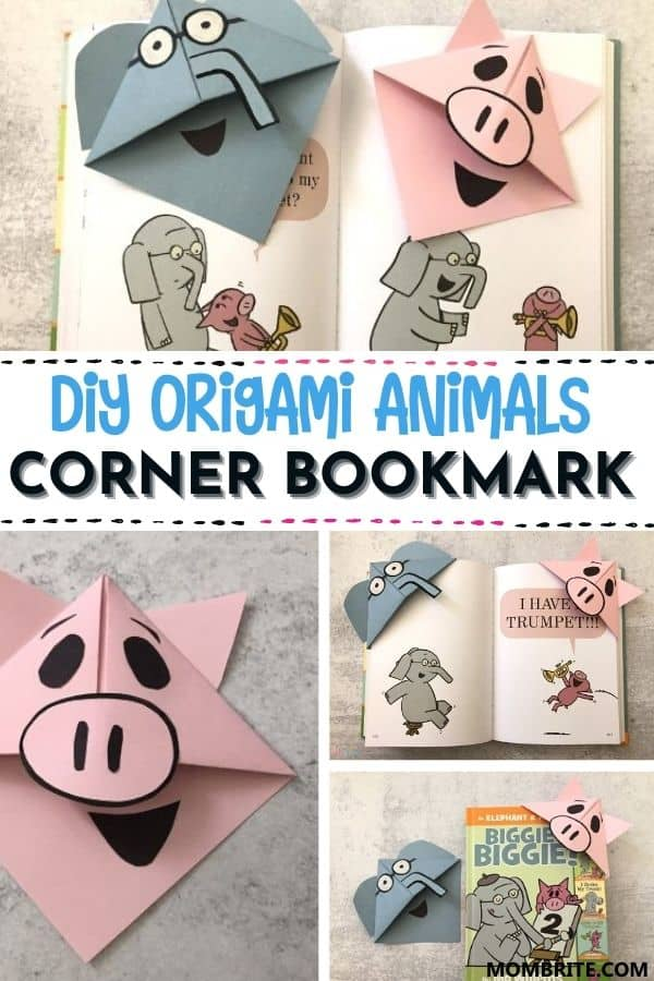 DIY Origami Elephant and Piggie Corner Bookmark Pin