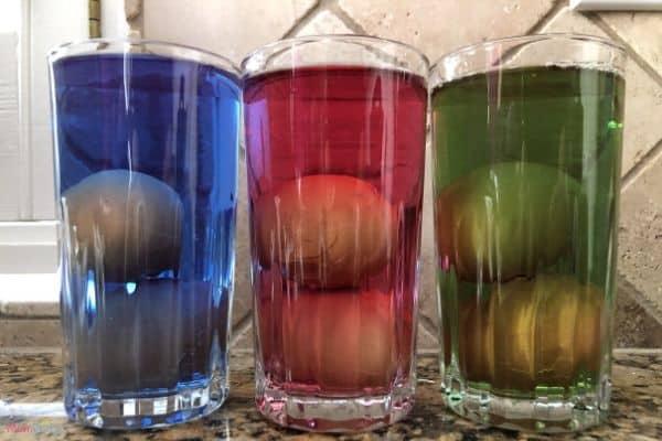 Dinosaur Eggs in Food Coloring