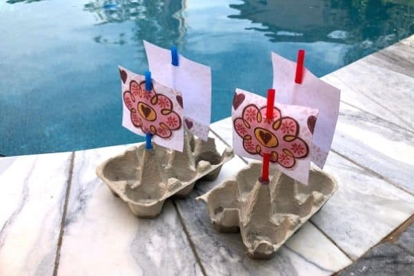 Egg Carton Boat By the Pool