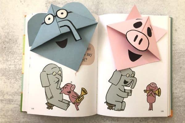 Elephant & Piggie Corner Bookmarks on Book