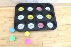 Muffin Tin Ping Pong Sight Word Game