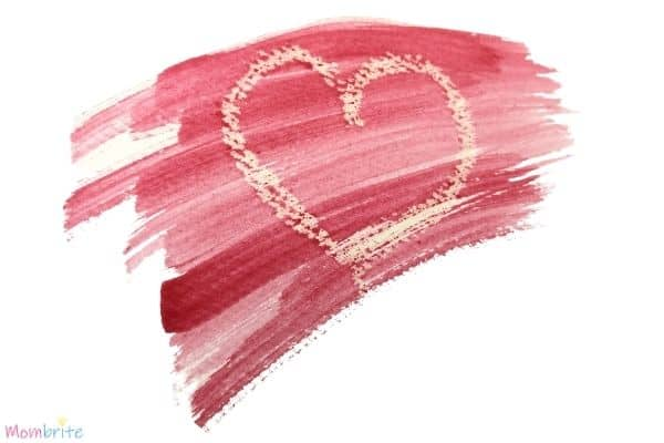 White Crayon Secret Message Red Watercolor Heart