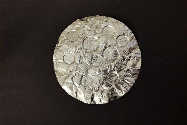 Aluminum Foil Moon on Black Paper