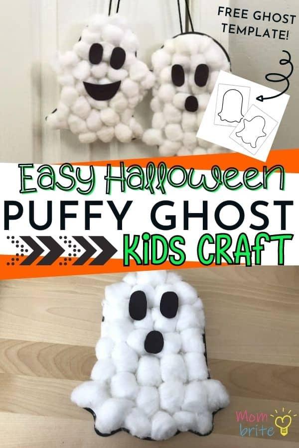 Halloween Puffy Ghost Kids Craft