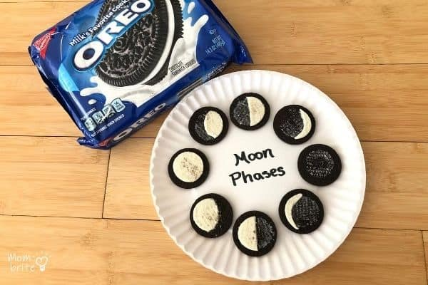 Oreo Cookies Moon Phases on Paper Plate