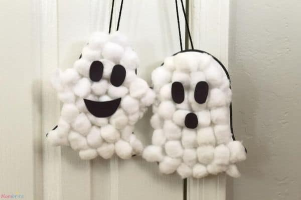 Puffy Ghosts on Doorknob