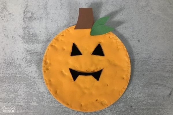 Puffy Paint Pumpkin on Cement