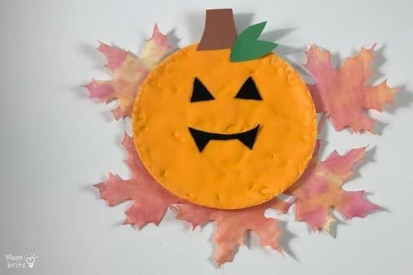 Puffy Paint Pumpkin with Maple Leaves