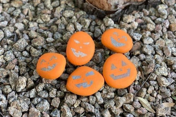 Pumpkin Rocks by Tree