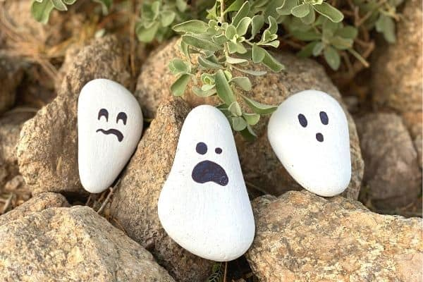 Painted Rock Ghost Craft Outside