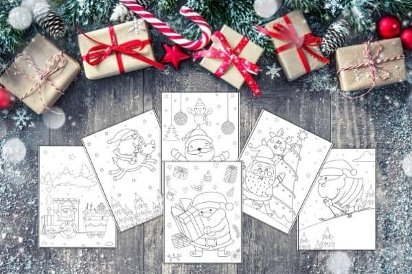 Christmas Santa Coloring Pages Mockup