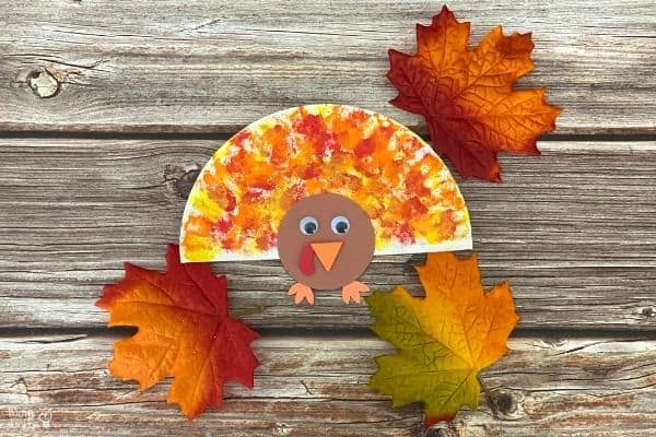 Cotton Ball Painted Paper Plate Turkey Craft (1)