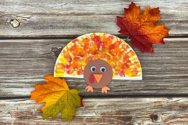 Cotton Ball Painted Paper Plate Turkey Craft (2)