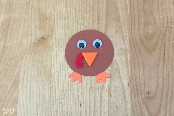 Cotton Ball Painted Paper Plate Turkey Craft Head