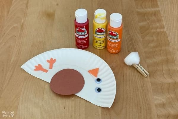 Cotton Ball Painted Paper Plate Turkey Craft Materials