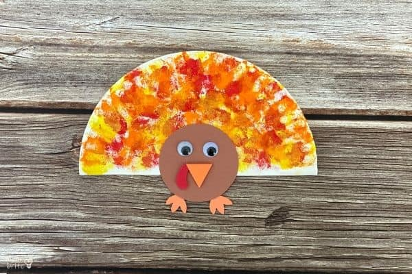 Cotton Ball Painted Paper Plate Turkey Craft
