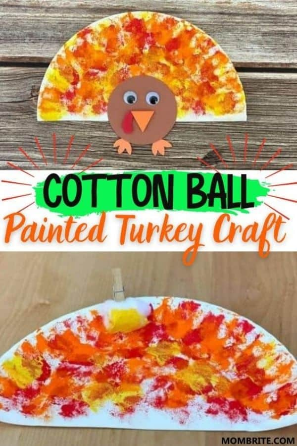 Cotton Ball Painted Turkey Craft Pin
