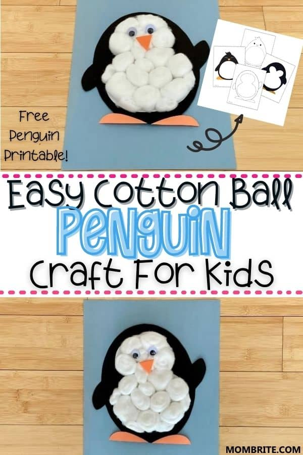 Cotton Ball Penguin Craft Pin