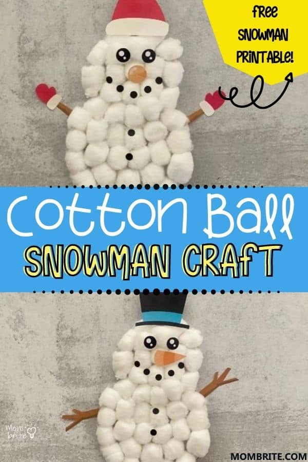 Cotton Ball Snowman Craft Pin